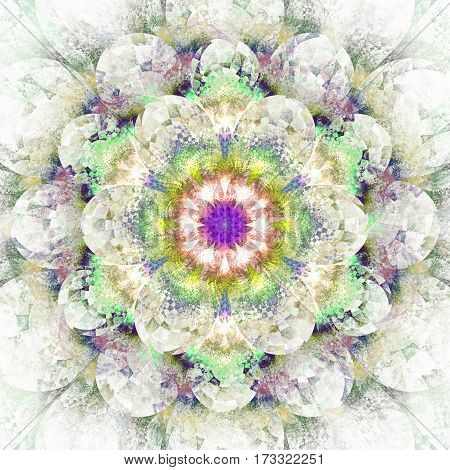 Fantasy Flower. Abstract Fractal Mandala On White Background. Digital Artwork In Yellow, Purple, Gre
