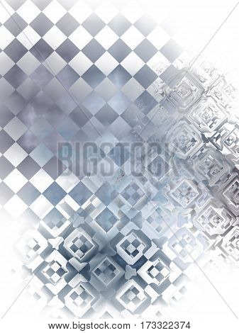 Abstract Glossy Checkered Background. Intricate Fractal Texture In Grey And Faded Blue Colors. 3D Re