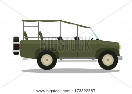 Vector safari travel icon transportation with compass, rifle, binoculars and jeep car. Tourism hunting auto voyage camouflage offroad africa truck.