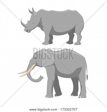 African elephant isolated on white. Baby animal indian zoo vector illustration. Nature mammal, trunk wildlife safari big tusk. Large strong rhinoceros zoo character.