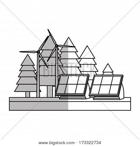 forest with solar panels and eolic turbines over white background. vector illustration