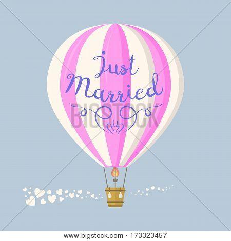 Wedding aerostat flat icons cartoon graphic. Modern balloon transport sky hot fly adventure journey and old vector air travel transportation flight airship.