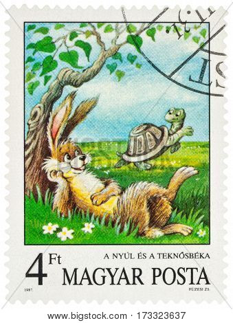 MOSCOW RUSSIA - February 26 2017: A stamp printed in Hungary shows scene from a fable