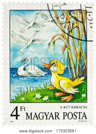MOSCOW RUSSIA - February 26 2017: A stamp printed in Hungary shows scene from a fairy tale