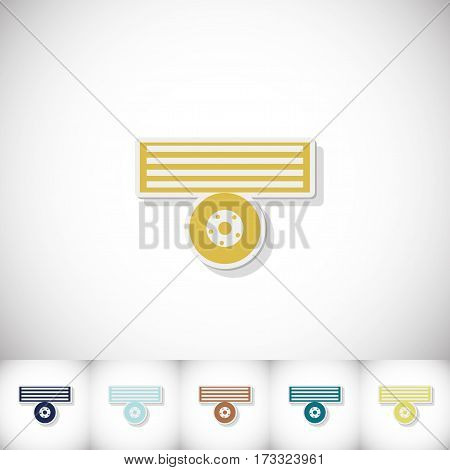 Small trailer. Flat sticker with shadow on white background. Vector illustration