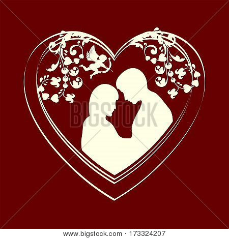 Design from the heart of lovers a boy and girl snuggled up to each other white