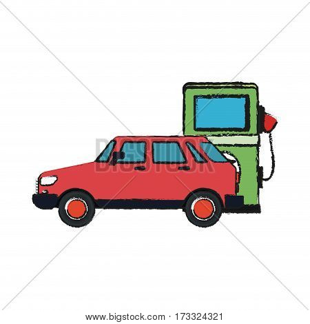 car and bio fuel pump over white background. vector illustration