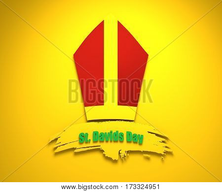 St Davids Day greeting card template. Wales national holiday. Catholic hat tiara. March, 1st. Grunge brush stroke. 3D rendering