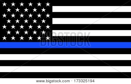 Fine Reproduction Vector American Police Flag blue line