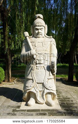 Statue of a General in The General Sacred Way of the Ming Tombs. It was built between 1435 and 1540. Shisanling, Beijing, China