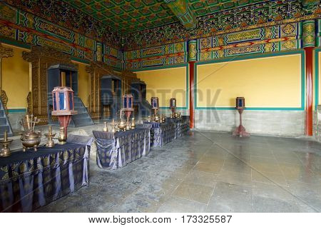 Shrine in Temple of Heaven, Tiantan Gongyuan Park, Beijing, China.