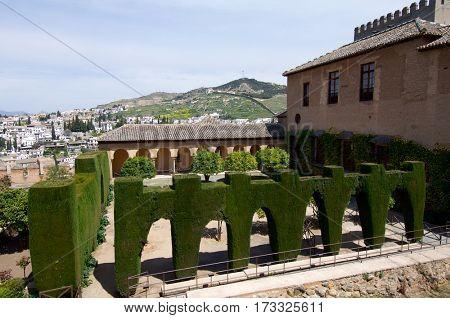 Patio de Machuca, giving access to Nasrid Palaces, Alhambra, Granada, Andalucia, Spain