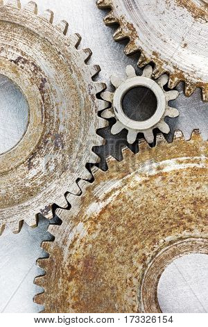 Old Rusty Industrial Gears Of Different Size Macro Shot