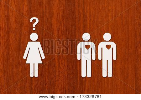 Paper woman and two men. Love relation concept. Abstract conceptual image
