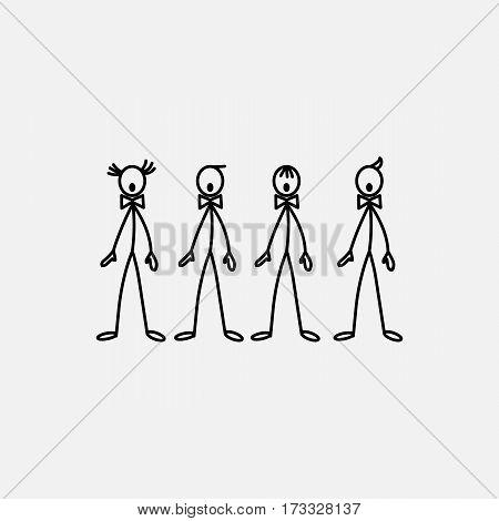 Cartoon icon of sketch stick figure singers men in cute miniature scenes.