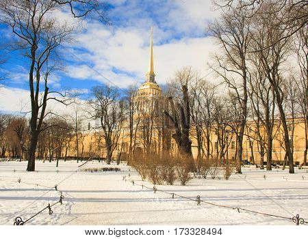 The building of the Admiralty and a winter garden. St. Petersburg. Russia.