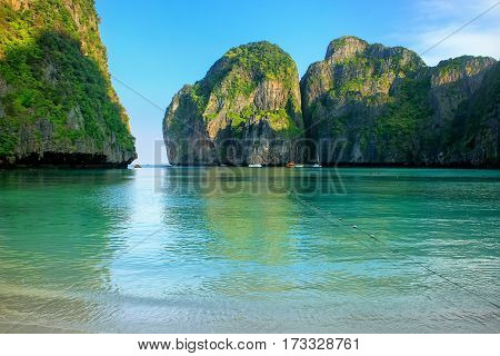 Maya Bay Surrounded By Limestone Cliffs On Phi Phi Leh Island, Krabi Province, Thailand