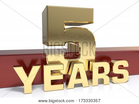 Golden digit five and the word  years. 3D illustration