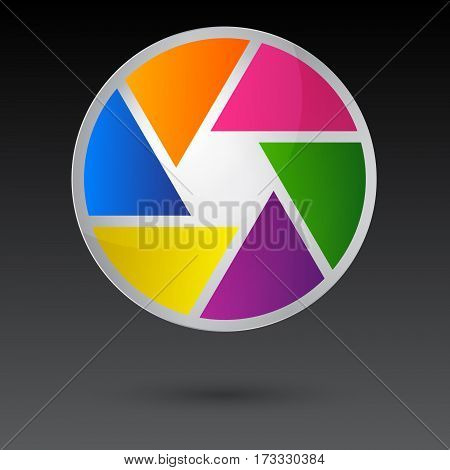 Shutter icon isolated on grey background for web design app logo UI vector illustration