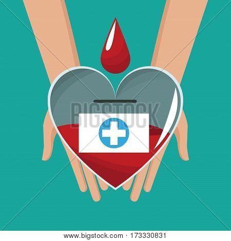 hand holding glass heart blood drop cross vector illustration eps 10