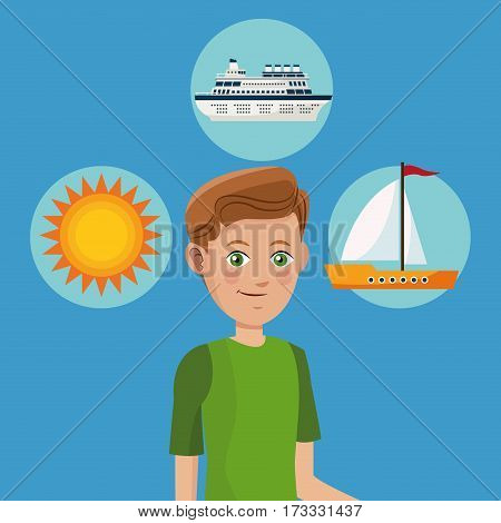 young boy tourist traveler vacation icons design vector illustration