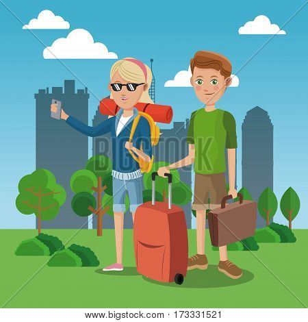 girl and boy tourist with rucksack suitcase green field city background vector illustration eps 10