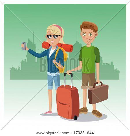 boy and girl suitcase rucksack smartphone glasses traveler urban background vector illustration eps 10