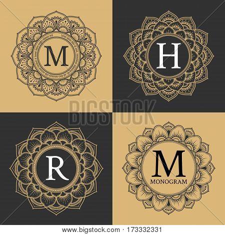 Monogram circle frame vintage luxury style. Elegant circle frame for border logo rubber stamp wedding frame emblem and label. Logo template for spa and hotel. Vector illustration