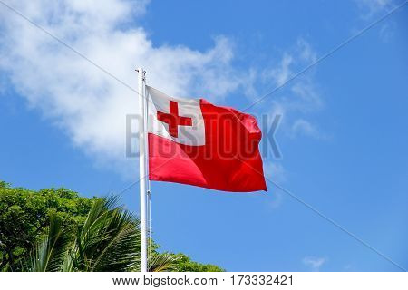 National flag of Tonga against blue sky. Tonga is a Polynesian sovereign state and archipelago.