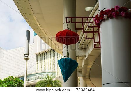 Chinese red lampion hanging on a pillar for Chinese new year celebration at Central Park Mall photo taken at Jakarta Indonesia java