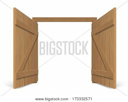 Old wooden massive opened gate. Double door with iron handles and hinges.
