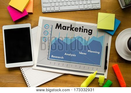 Marketing Organization Management Strategy Double Exposure Of Business Man Hand Working On Laptop Co