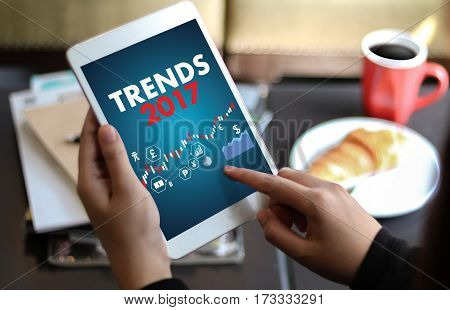 Trends 2017 Business Success  Creative Thinking Businessman Working On Laptop Computer Pc