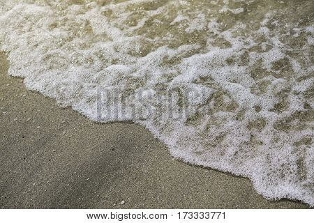 Soft wave on the sea with sunlight on the beach