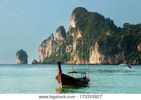 Longtail Boat Anchored At Ao Loh Dalum On Phi Phi Don Island, Krabi Province, Thailand