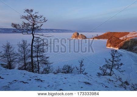 Olkhon Island. Shamanka Rock. Sunset Landscape.baikal Lake, Winter