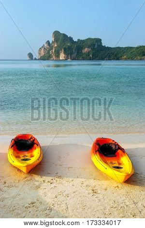 Colorful Kayaks At Ao Loh Dalum Beach On Phi Phi Don Island, Krabi Province, Thailand