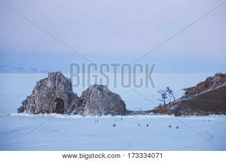 Rock Shamanka. Evening Landscape. Lake Baikal, Winter