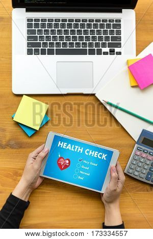 Digital Health Check Healthcare Concept Doctor Working With Computer Interface As Medical