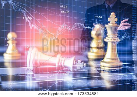 Business Man On Digital Stock Market Financial And Chess Background. Digital Business And Stock Mark