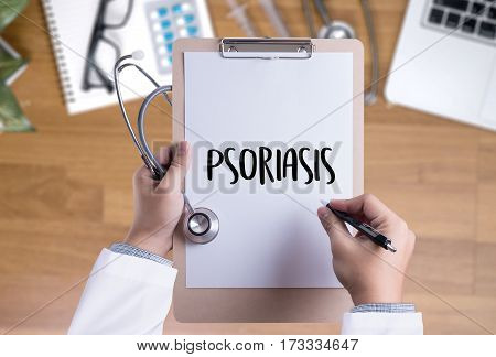 Injections And Syringe. Psoriasis Diagnosis, Medical Concept. Composition Of Medicaments