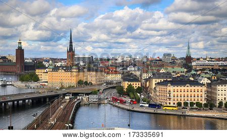 Aerial view of Stockholm from Great lookout point Katarinahissen (Katarina Elevator) in Stockholm Sweden