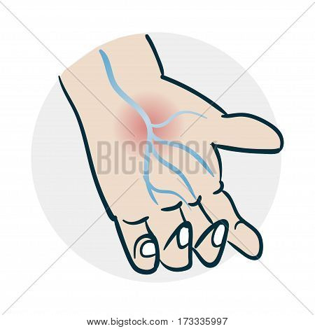 problems with veins hands icon. Illustration of a funny cartoon style