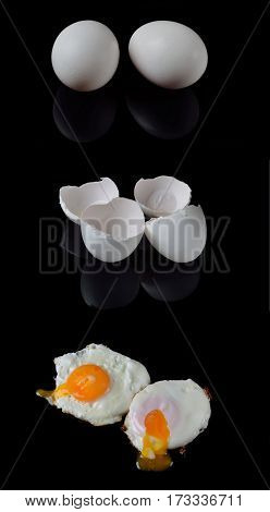 The Process Of Making A Black Background Eggs: Whole Eggs, Shells Of Eggs, Fried Eggs.