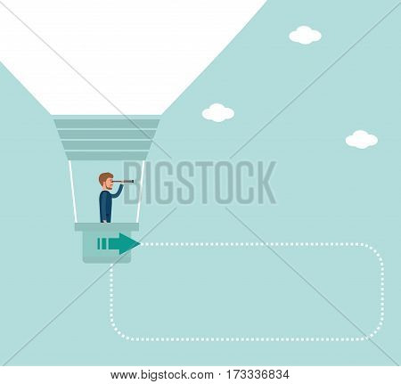 Concept flat vector business illustration. A young businessman conducts market analysis. The businessman is in a balloon of ideas and looking through a telescope. Metaphor business