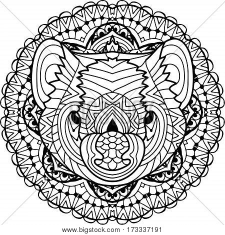 Coloring page for adults. Australian animal. The head of a Tasmanian devil with patterns. Monochrome ink patterns. Line art. For tattoos and other designs. Zenart