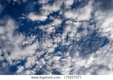 White clouds with blue sky and daylight.