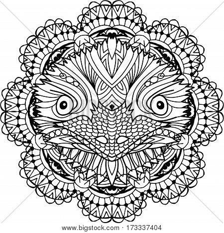 Coloring page for adults. Australian animal. The head of a emu with patterns. Monochrome ink patterns. Line art. For tattoos and other designs. Zenart