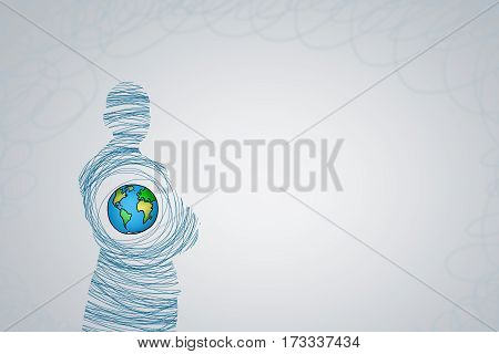 Silhouette of businessman and Earth planet inside. Elements of this image are furnished by NASA