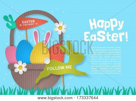 Easter Holiday Concept With Eggs Basket And Bunny Cardboard Paper Silhouette. Realistic Vector Illus